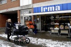 COOP CLOSED 20 GROCERY STORES. Copenhagen-Denamrk _Coop closed three grocery store chains ,Irma selling 50 clousure sale and Fakta and brugersen in Denmark due Stock Photos