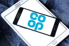 Coop company logo. Logo of coop company on samsung mobile. they offer wider range of products and services including car insurance, pre-paid funeral plans, world Royalty Free Stock Photography