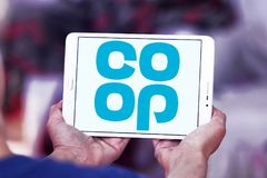 Coop company logo. Logo of coop company on samsung tablet. they offer wider range of products and services including car insurance, pre-paid funeral plans, world Stock Images