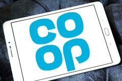 Coop company logo. Logo of coop company on samsung tablet. they offer wider range of products and services including car insurance, pre-paid funeral plans, world Stock Photos
