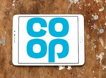 Coop company logo. Logo of coop company on samsung tablet. they offer wider range of products and services including car insurance, pre-paid funeral plans, world Royalty Free Stock Images