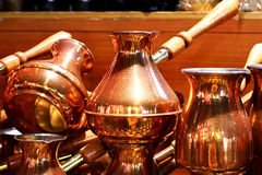 Cooper coffee pots Royalty Free Stock Photo
