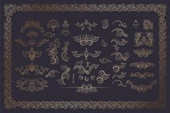 Cooper Color Flourishes Collection on Dark Background. Cooper Color Floral Borders and Frames. Golden Flourishes Set on Dark. Gold Dividers. Italian Vintage vector illustration