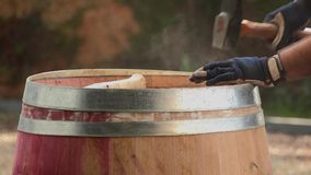 Cooper Making Barrel, closing of the top of the barrel