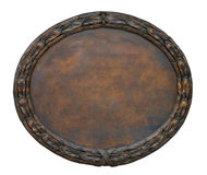 Cooper Plate. Brass brown ornate plate framed background texture Stock Photography