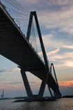 Cooper River Bridge. View of Large Bridge from Underneath during Sunset stock photography