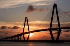 Cooper River Bridge Charleston South Carolina. The sun goes down behind the new bridge over the Cooper River in Charleston, South Carolina Royalty Free Stock Photos