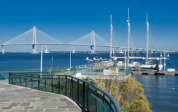 Cooper River Bridge and Marina. Scenic View of the Cooper River, Bridge and marina in Charleston SC Royalty Free Stock Image