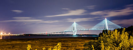 Cooper river bridge at night in  charleston south carolina Royalty Free Stock Image