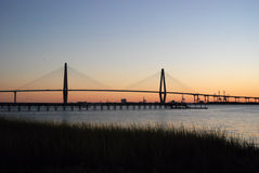 Cooper River Bridge Sunset Royalty Free Stock Photos