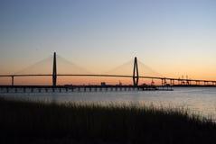 Cooper River Bridge Sunset Royalty Free Stock Photos