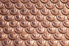 Cooper roofing. Expencive and luxury cooper roofing pattern background Royalty Free Stock Images
