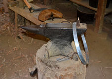 Cooper's Anvil. An anvil used in the cooper's shop at Abraham Lincoln's New Salem State Historical site in Illinois Stock Photography