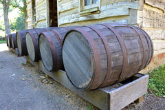 Cooper's Barrels. Barrels line the front of the cooper's shop at Abraham Lincoln's New Salem State Historical site in Illinois Stock Photo