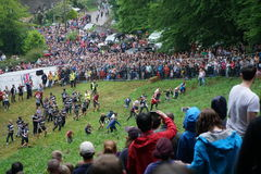 Cooper`s Hill Cheese Rolling Race 2017 Stock Images