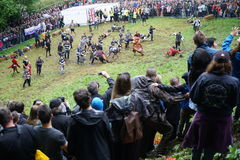 Cooper`s hill Cheese Rolling Race 2017 Royalty Free Stock Images