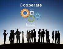 Coopera a colaboração Team Cog Technology Concept foto de stock