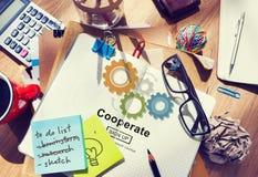 Coopera a colaboração Team Cog Technology Concept foto de stock royalty free