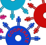 Cooperate Cogs Indicates Gear Wheel And Teamwork Stock Image