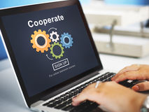 Cooperate Collaboration Team Cog Technology Concept stock images