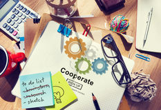 Cooperate Collaboration Team Cog Technology Concept.  royalty free stock photo