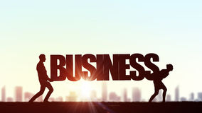 Cooperate for successful work. Business people carrying word business representing collaboration concept royalty free stock photo