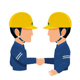 Cooperate. Two Industrial workers are shaking hands on transparent background Stock Photography