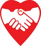 Cooperation. Cute handshaking image with heart symbol illustrated image Stock Photo