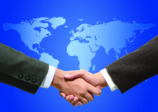 Cooperation. Hand shaking royalty free stock image