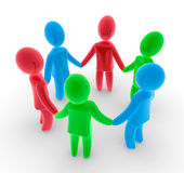 Cooperation. Abstract composition of figures holding each other in circle Royalty Free Stock Image