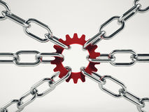 Cooperation business concept with chains. mixed media Royalty Free Stock Images