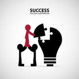 Cooperation. Business concept illustration. Two men carry their leader to complete the jigsaw royalty free illustration