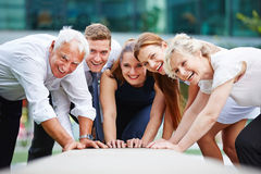 Cooperation in a business team Stock Image