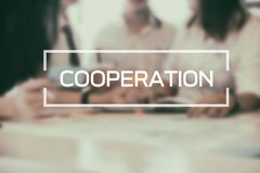 Cooperation Business word on meeting of business. Royalty Free Stock Images