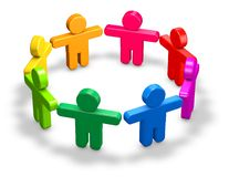 Cooperation and community abstract illustration with 3d people standing on floor. Royalty Free Stock Images