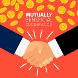 Cooperation concept, businessmen handshaking. Cooperation concept vector illustration. Businessmen shaking hands under the rain of golden coins Royalty Free Stock Photo