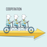 Cooperation concept. Businessmen riding a tandem bicycle in line style Royalty Free Stock Images