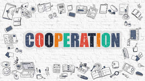 Cooperation Concept with Doodle Design Icons. Cooperation. Multicolor Inscription on White Brick Wall with Doodle Icons Around. Cooperation Concept. Modern Stock Images