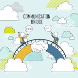 Cooperation concept. Two businessmen on communication bridge in line style Royalty Free Stock Photography