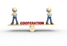 Cooperation. 3d people - man, person in balance. Cooperation Stock Images
