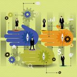 Cooperation  design with colorful hands. Stock Images