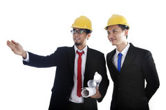 Cooperation between engineer and investor Stock Photo
