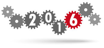 Cooperation gears for New Year 2016. Cooperation gears colored gray and red for New Year 2016 royalty free illustration