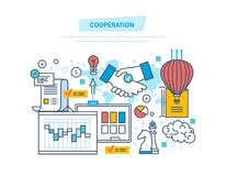 Cooperation, group collaboration, partnerships, teamwork, marketing, business deal. Cooperation, group collaboration, partnerships, teamwork, marketing and Stock Photos