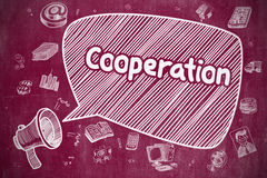 Cooperation - Hand Drawn Illustration on Red Chalkboard. Speech Bubble with Phrase Cooperation Hand Drawn. Illustration on Red Chalkboard. Advertising Concept Stock Photos