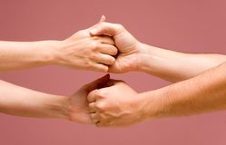 Cooperation hands + PATH. Male and female cooperation hands + PATH Royalty Free Stock Photo