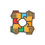 Cooperation hands, teamwork filled outline icon, colorful vector sign. Symbol, logo illustration Royalty Free Stock Photos