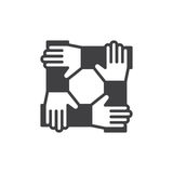 Cooperation hands, teamwork icon vector, filled flat sign, solid pictogram isolated on white. Symbol, logo illustration. Pixel per Stock Photo