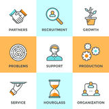 Cooperation and organization line icons set Stock Photo