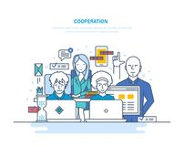 Cooperation, partnerships, teamwork with colleagues, interaction among themselves, coworking, collaboration. Cooperation, partnerships, teamwork with colleagues stock illustration